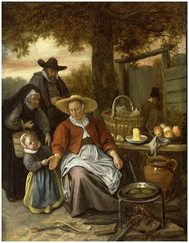 Jan Steen - 17è - la marchande de crêpes - collection privée