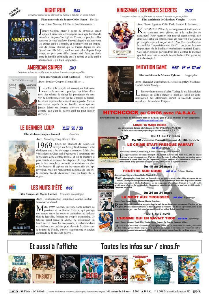 LE PROGRAMME DU CINOS...pour la SEMAINE 11...