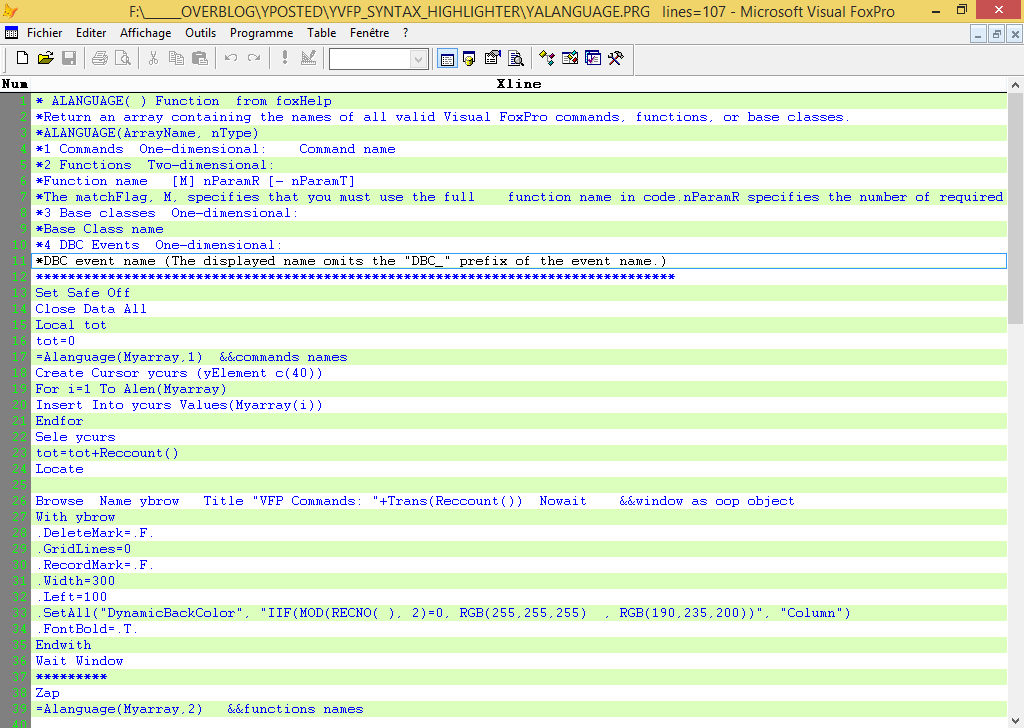Around syntax Highlighting in visual foxpro - Visual Foxpro