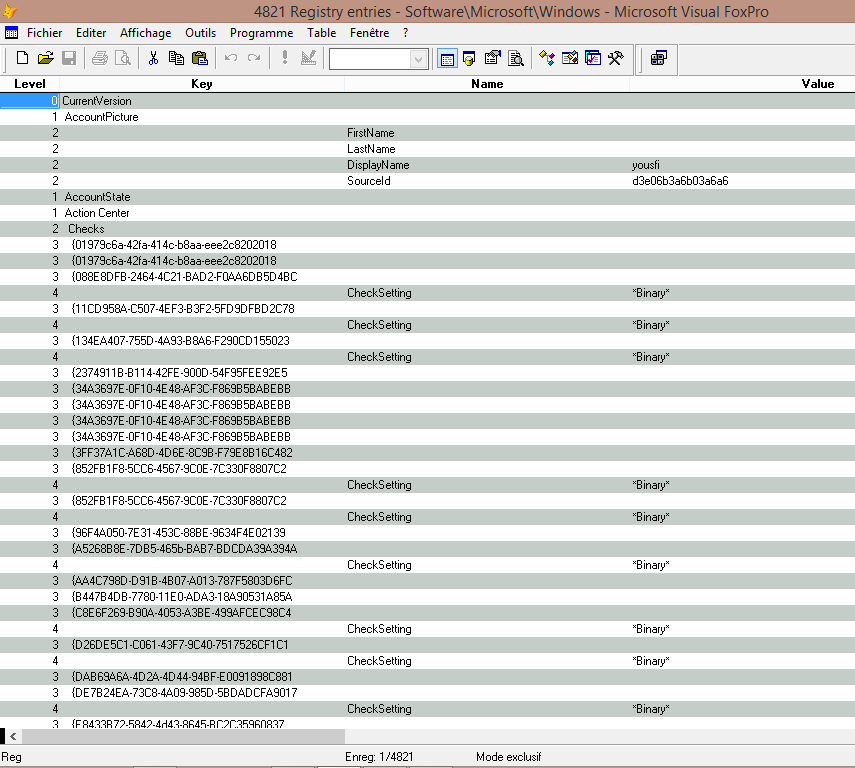 Working with the registry in Visual Foxpro - Visual Foxpro codes