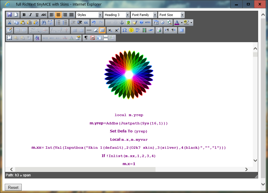 Advanced richtext editor : TinyMce - Visual Foxpro codes