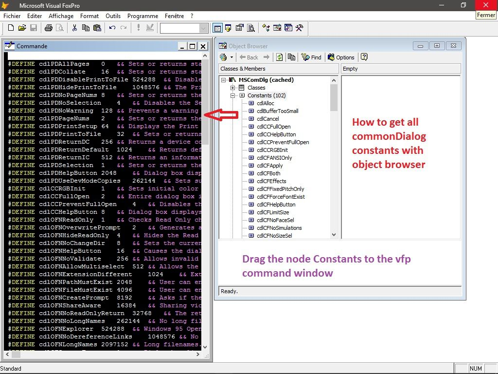 Working with common dialogs Part2 - Visual Foxpro codes