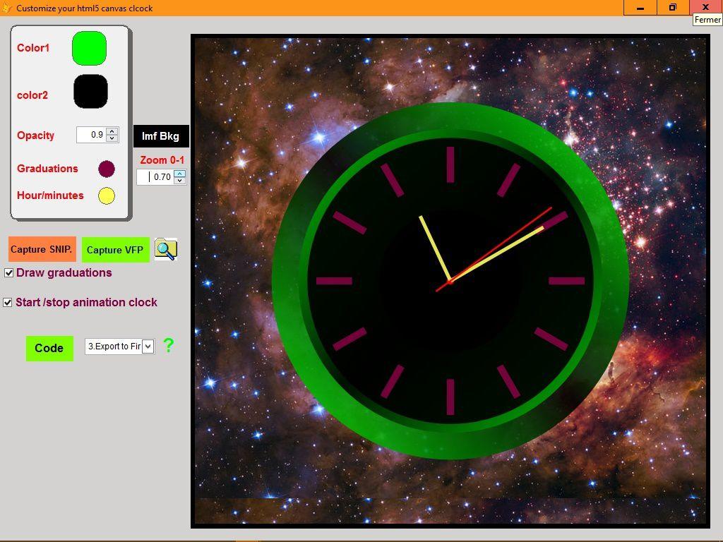 Build your custom canvas clock - Visual Foxpro codes
