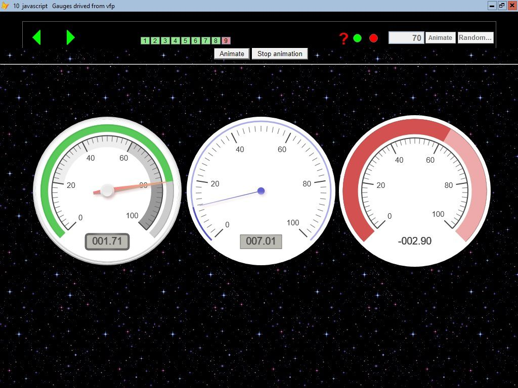 10 javascript gauges drived from VFP - Visual Foxpro codes