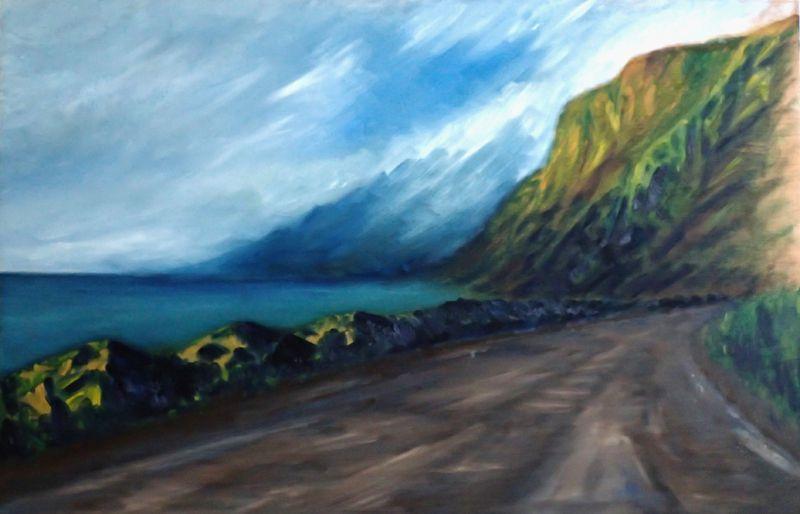 route 82, Andoya, Vesteralen, 6.06.14, 21h12, peinture à l'huile sur panneau de bois, 102 x 67 cm, 2015