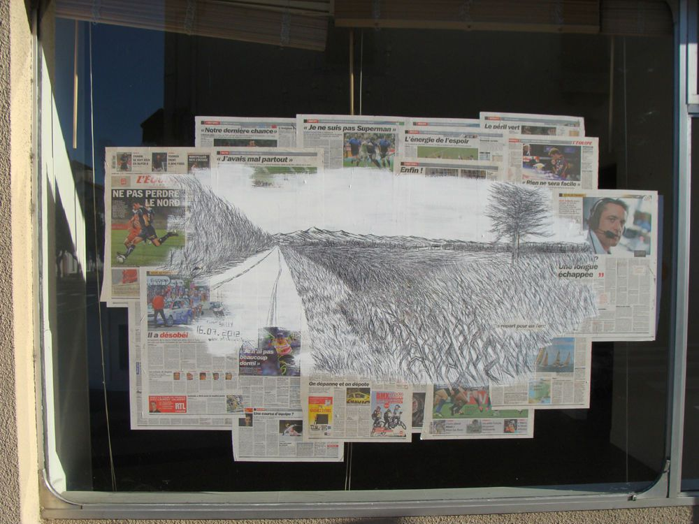 échappée vers les Pyrénées, performance-dessin, passage du Tour de France, Maubourguet, 16 juillet 2012