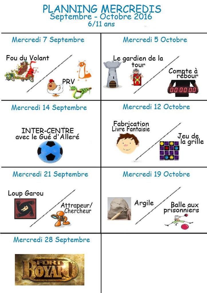 Programme d'activité des Mercredi Totem (6/11 ans)