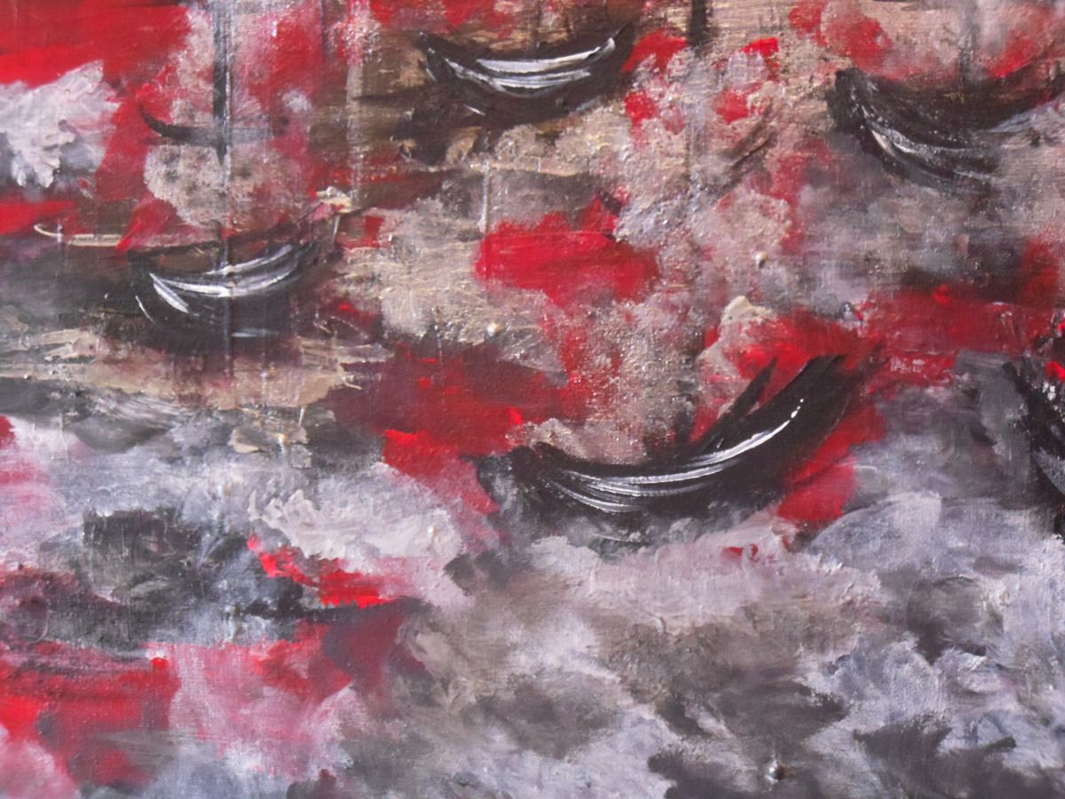 Tableau abstrait &quot&#x3B;Brume sur la Marina&quot&#x3B;