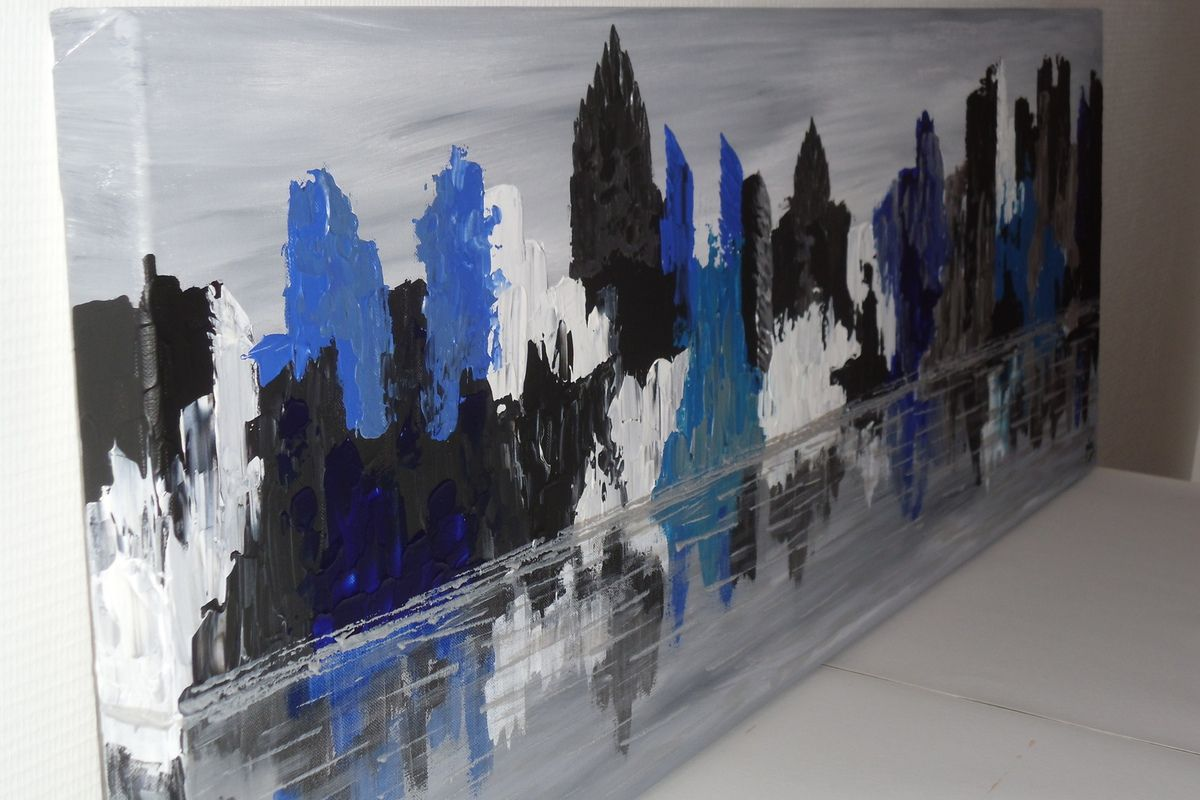 Tableau abstrait &quot&#x3B;Blue City&quot&#x3B;