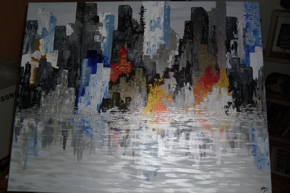 Tableau abstrait &quot&#x3B;New York Reflections&quot&#x3B;