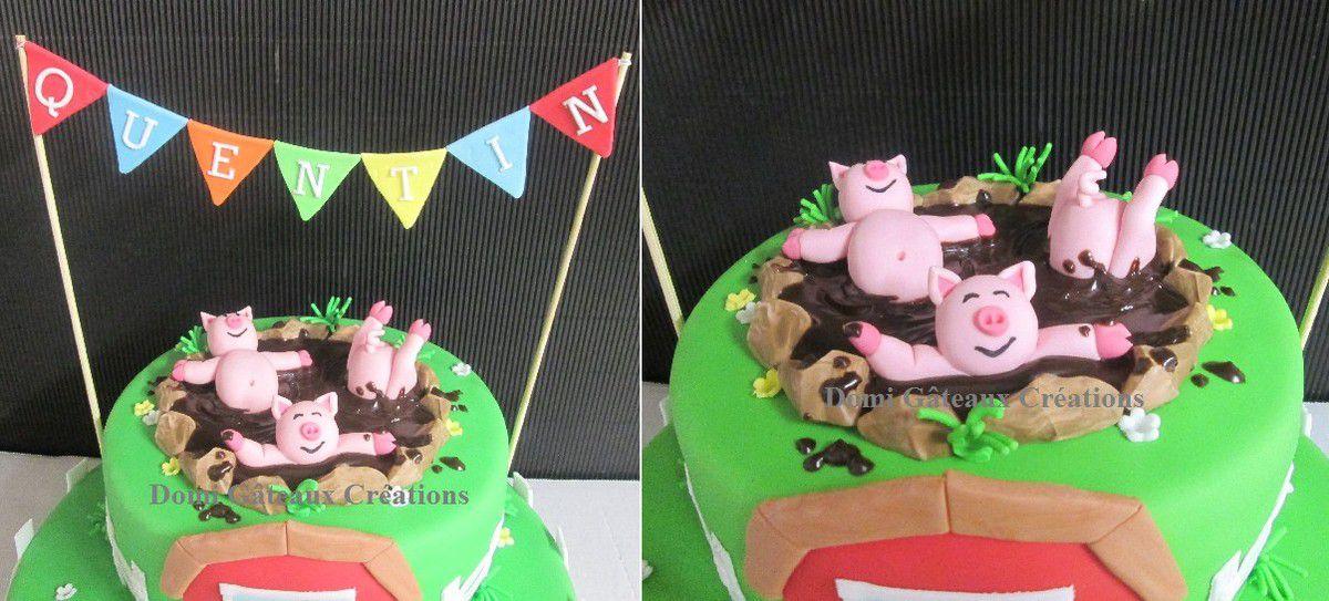 Gâteau &quot&#x3B;Ferme&quot&#x3B; en pâte à sucre