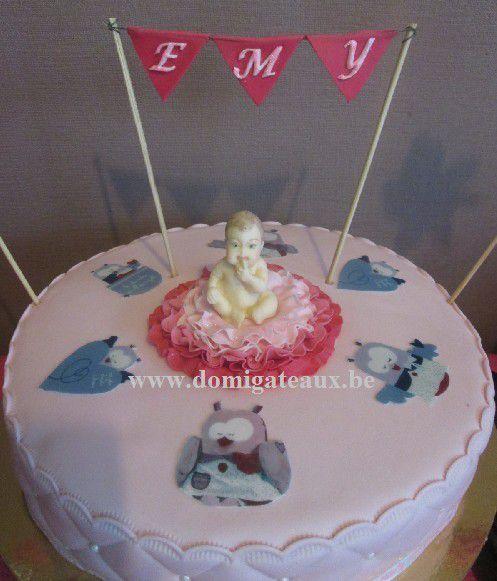 Gâteau &quot&#x3B;Baby Shower&quot&#x3B; en Pâte à Sucre pour la Petite Emy