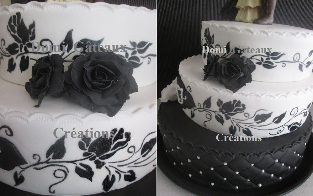 Wedding Cake &quot&#x3B;Gothique&quot&#x3B; en Pâte à Sucre