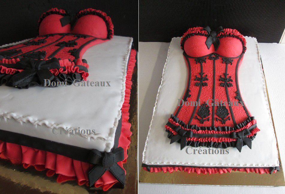 Gâteau &quot&#x3B;Bustier Sexy&quot&#x3B; en Pâte à Sucre