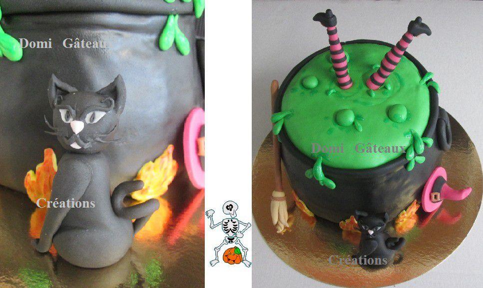 Halloween: Gâteau Chaudron et Chat Noir en Pâte à Sucre