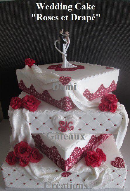 Wedding Cake &quot&#x3B;Roses et Drapé&quot&#x3B; en Pâte à Sucre