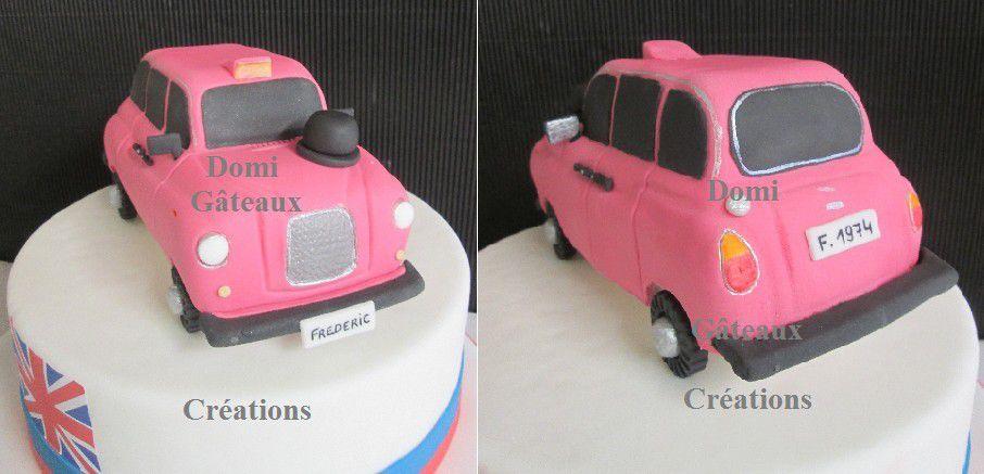Gâteau &quot&#x3B;Taxi Rose Anglais&quot&#x3B; en Pâte à Sucre