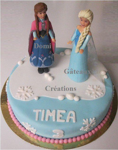Gâteau Reine des Neiges, Elsa et Anna en Pâte à Sucre