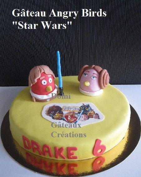 Gâteau &quot&#x3B;Angry Birds Star Wars&quot&#x3B; en Pâte à Sucre