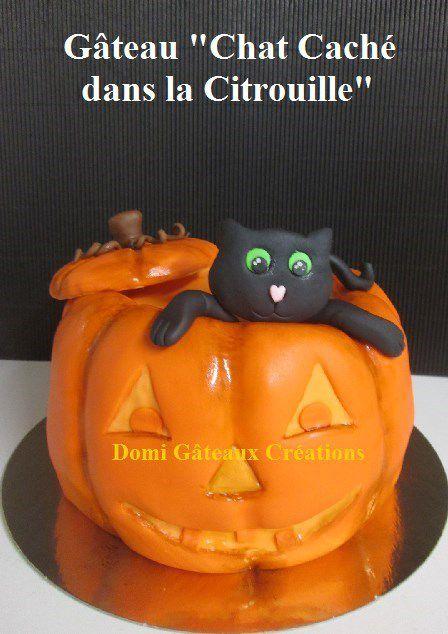 Gâteau &quot&#x3B;Chat Caché dans Une Citrouille&quot&#x3B; en Pâte à Sucre