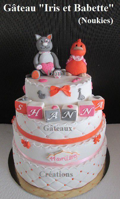 Gâteau &quot&#x3B;Iris et Babette&quot&#x3B; (Noukies) en Pâte à Sucre ...