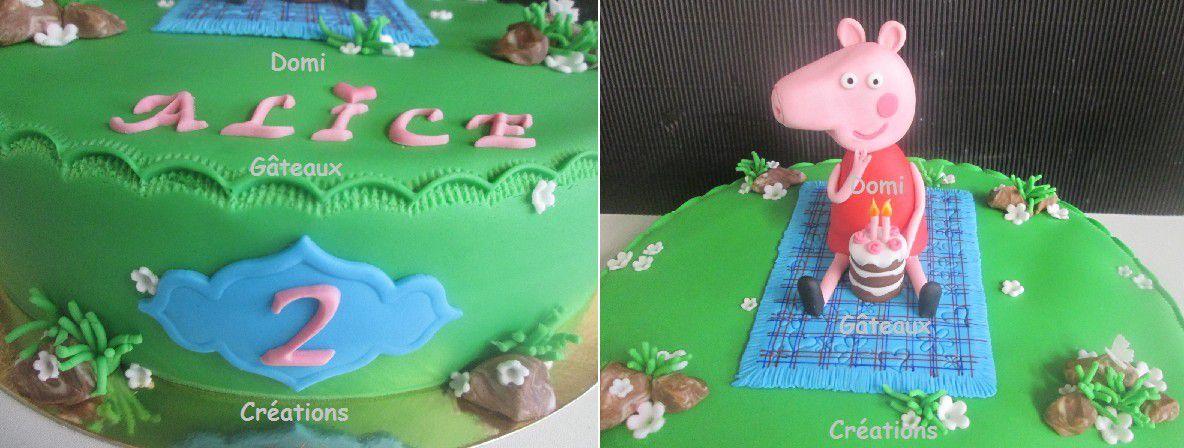 Gâteau Peppa Pig en Pâte à Sucre