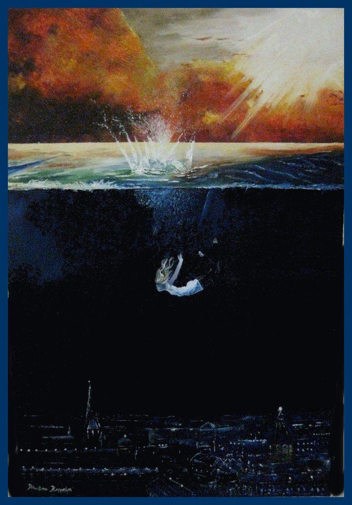 Trois magnifiques peintures : Les vignes devant la terrasse. Profondeur marine. Au gré du vent. Toutes ces peintures sont réalisées à l'huile