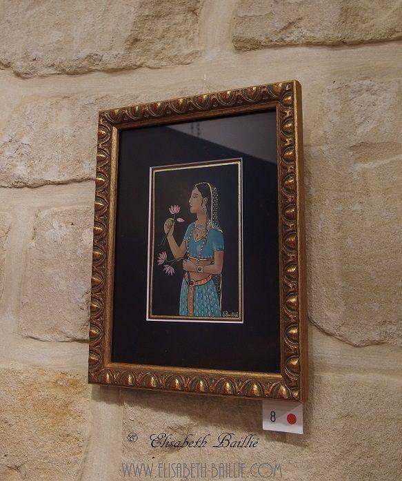 Mes enluminures exposées.  De haut en bas: princesse indienne à la fleur, l'Arbre de Vie, Princesse au chat en contemplation