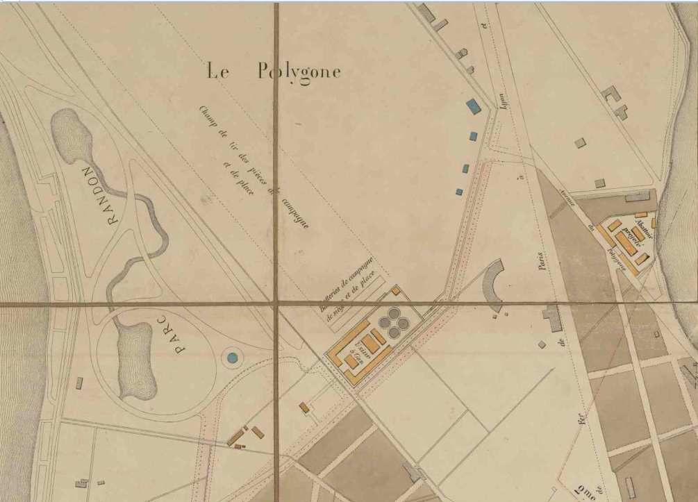Plan de 1868 - limite entre le quartier Berriat et le polygone