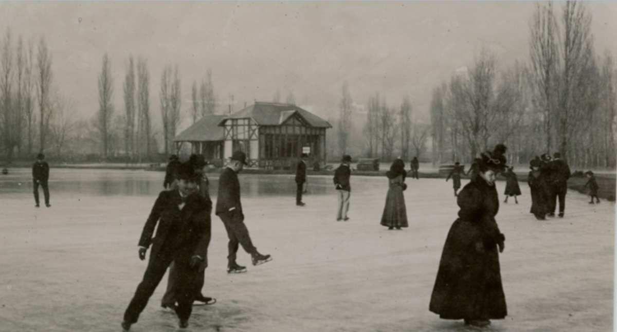 Quelques scênes de patinage sur glace vers 1900