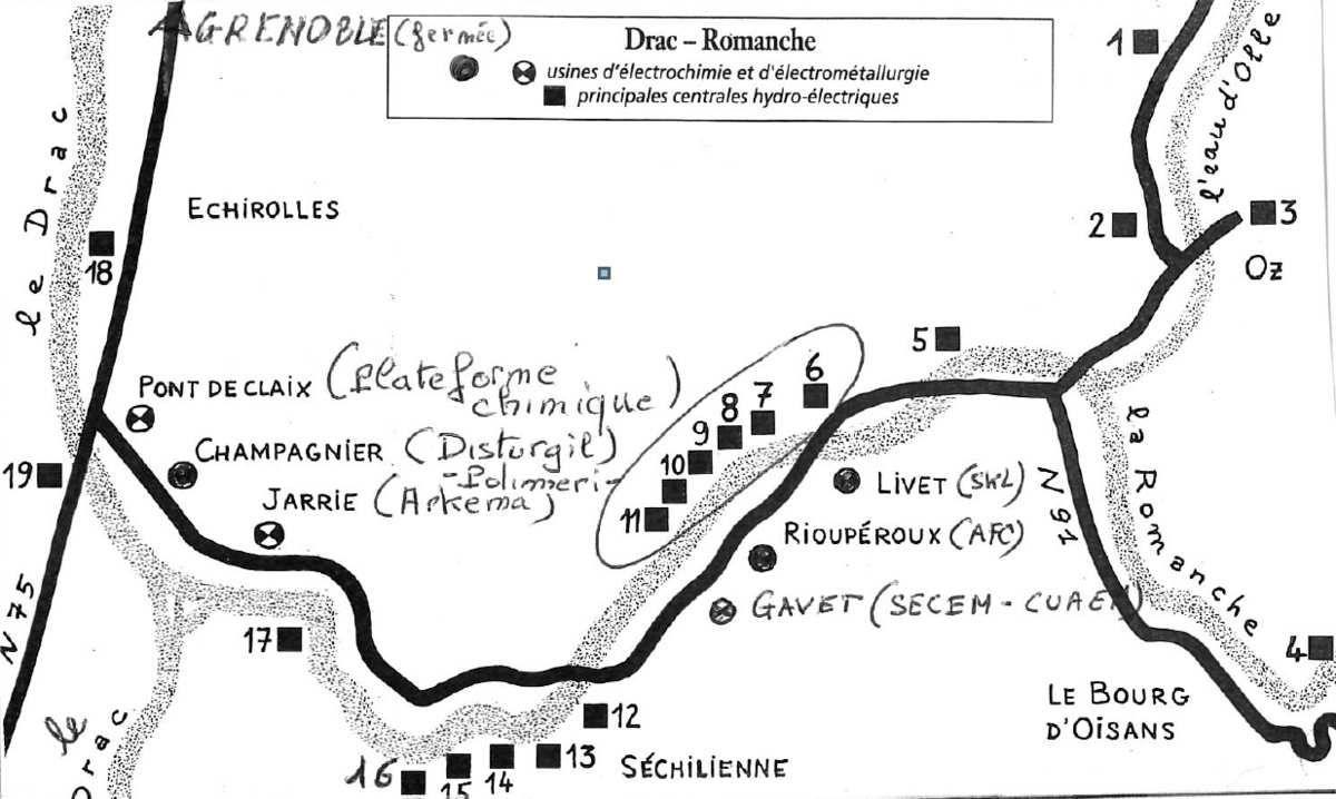 Les établisssements industriels et les centrales hydauliques dans la vallée de la Romanche.