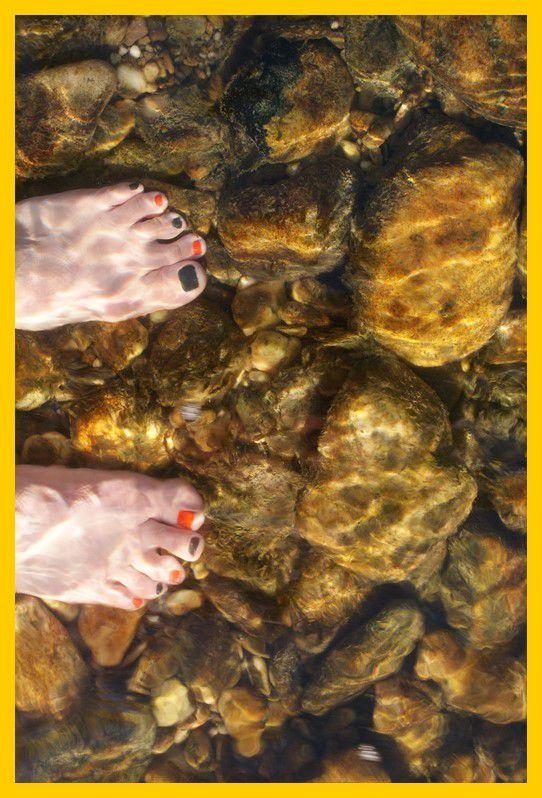 Bain de pieds dans le Gardon
