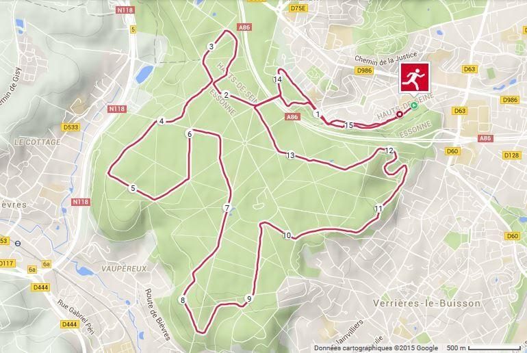 Mon GPS a enregistré 15,5 km.
