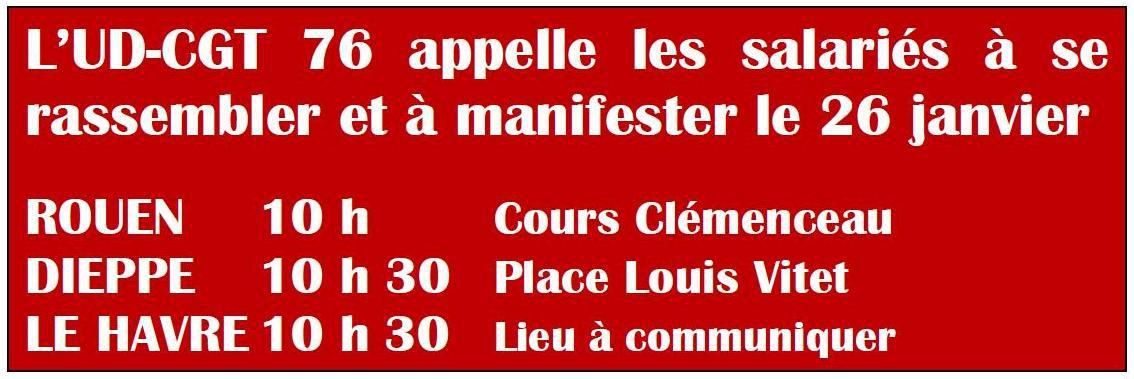 Fonction Publique : Tous en Grève le 26 janvier 2016 - Appel de l'UD-CGT de Seine-Maritime