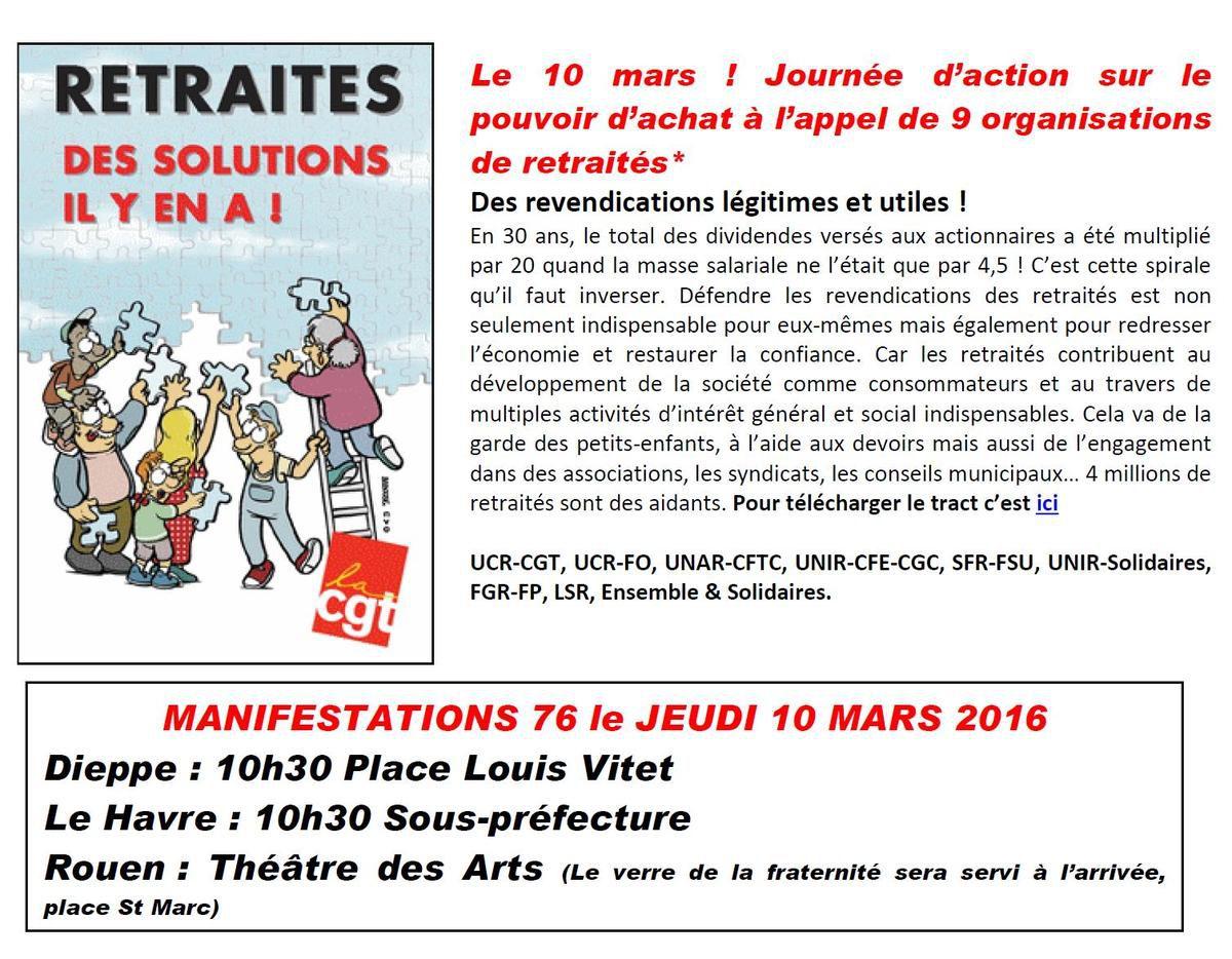Jeudi 10 Mars 2016, les retraités défendront leurs droits - Manifestations à ROUEN, DIEPPE, LE HAVRE