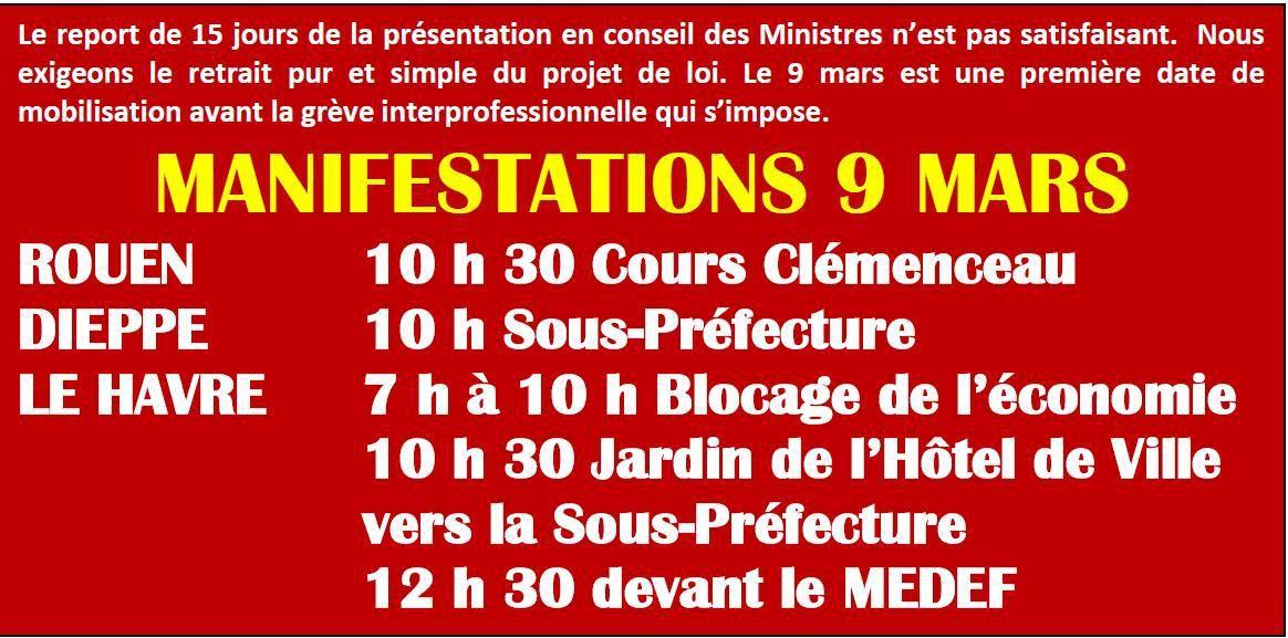 9 Mars - Manifestations en Seine-Maritime - Contre le projet de loi Travail - Tract de l'UD-CGT.