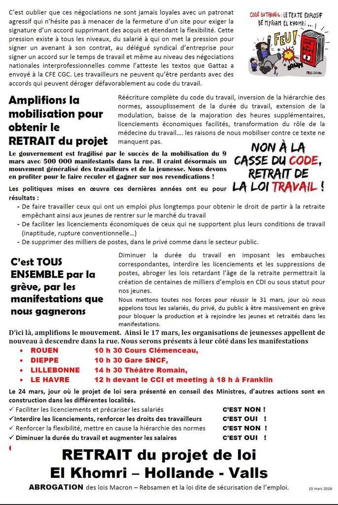Seine-Maritime - La CGT appelle à manifester le 17 Mars aux côtés des étudiants