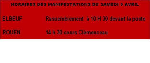 En Seine-Maritime, appel CGT-FO-Solidaires-FSU-UNEF à manifester le 9 avril pour le retrait du projet de loi sur le travail - Ni amendable, ni négociable - ROUEN-LE HAVRE-DIEPPE-LILLEBONNE-ELBEUF