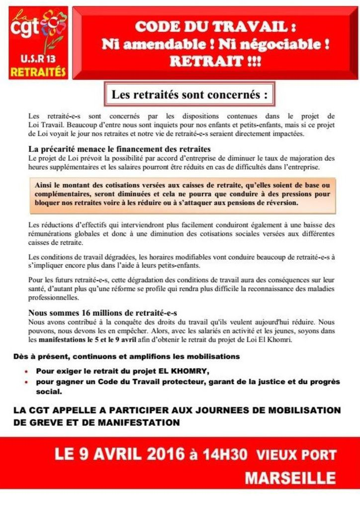 Marseille - Code du travail : Ni amendable ! Ni négociable ! Retrait !