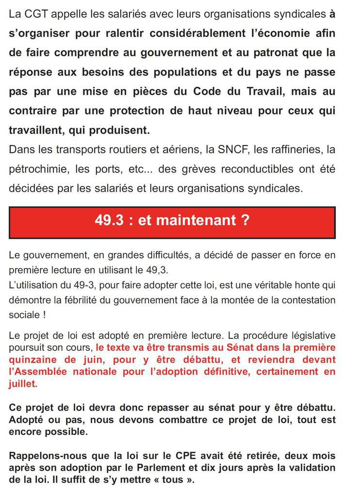 LARGES EXTRAITS DU TRACT DISTRIBUE à RENAULT CLEON PAR LE SYNDICAT CGT