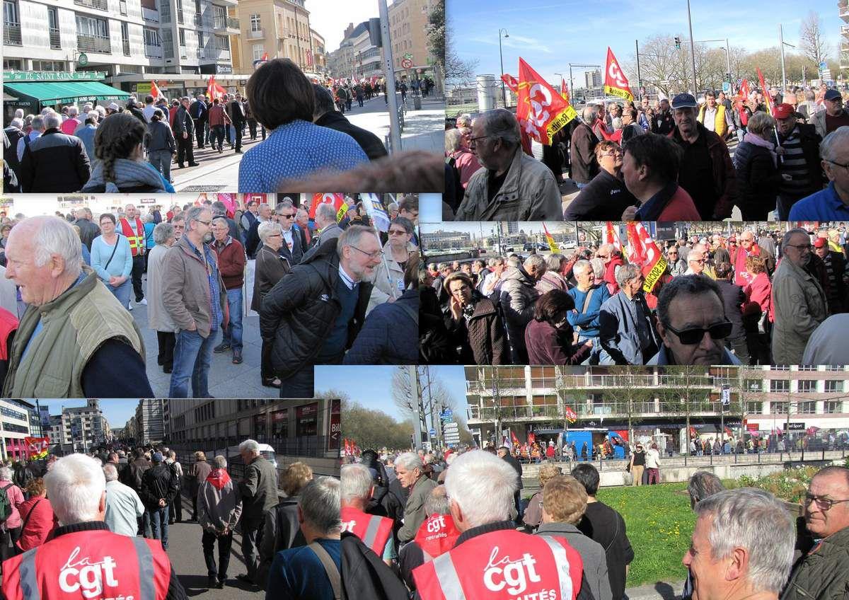 30 Mars dans les rues de Rouen, du Havre et de Dieppe - Près de mille retraités manifestent pour leur pouvoir d'achat.