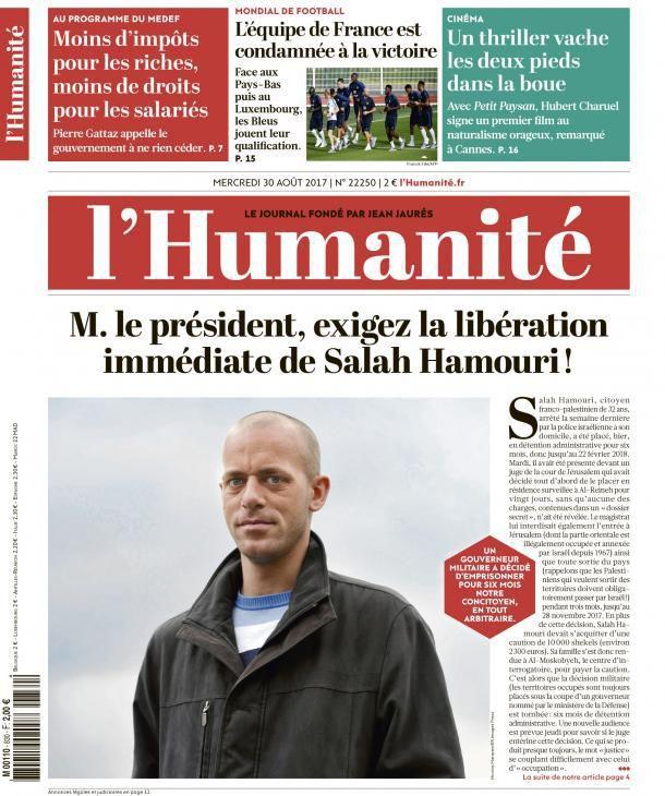 Salah Hamouri dans les geôles israéliennes - Pour 6 mois - Sans jugement et sur décision militaire