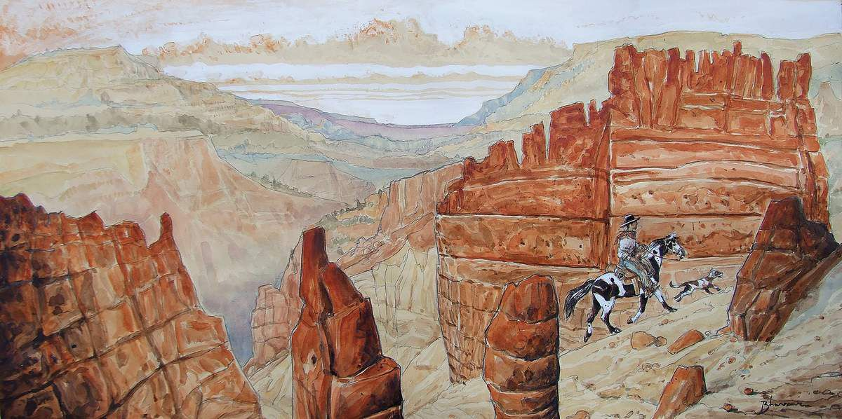 A cow-boy on his horse 3. Cheval pie dans un canyon Crayon, aquarelle, encres, gouache sur papier 31x62  Bhavsar