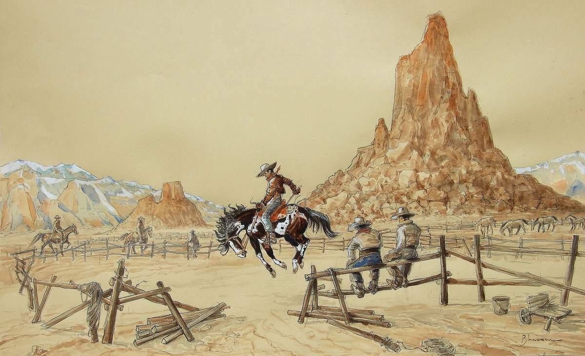 A cow-boy on his horse 6 Dressage d'un bronco sauvage.  Crayon, aquarelle, encres, gouache sur papier 40x65 Bhavsar