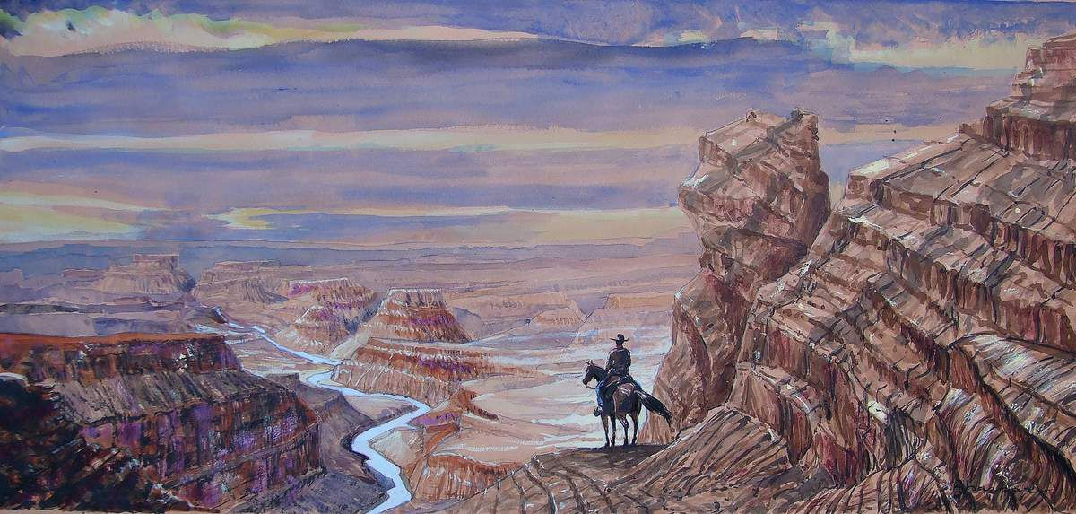 A cow-boy riding his horse 9. Passage vers le Grand Canyon. Crayon, aquarelle, encres, gouache sur papier 30x63 BHAVSAR
