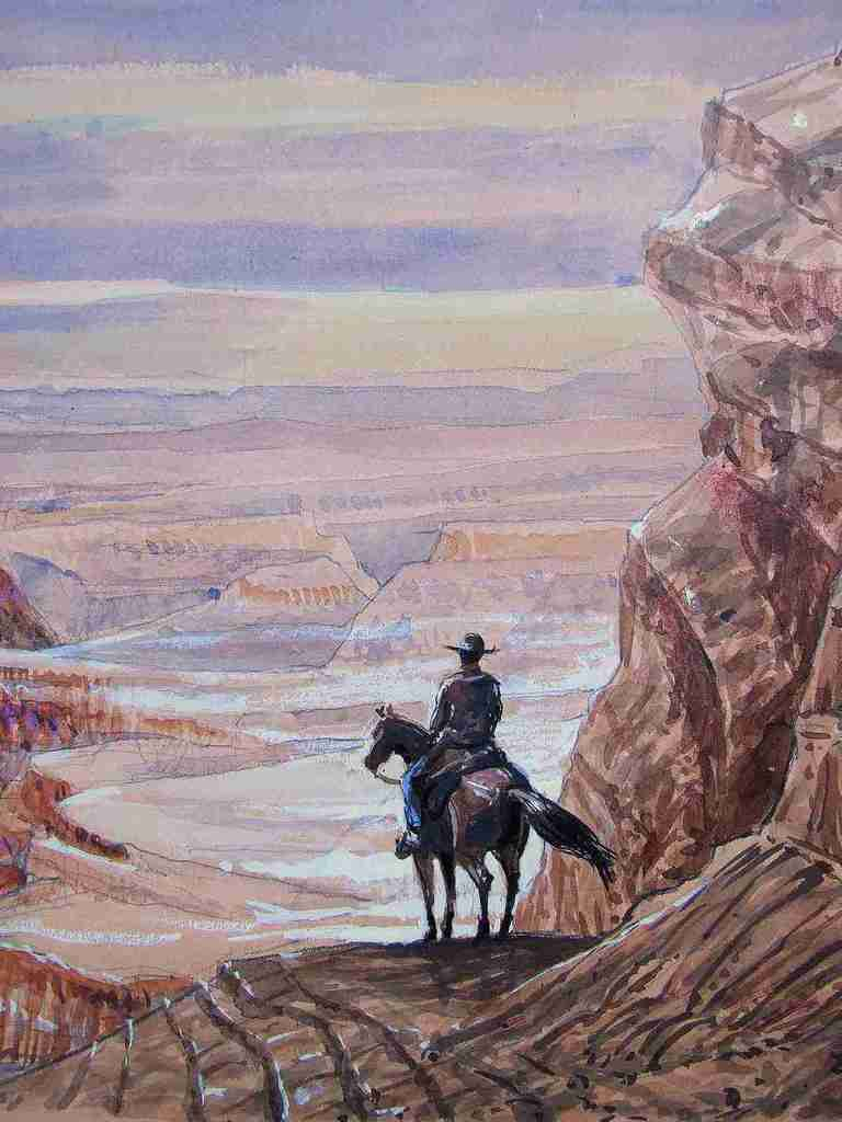 Détail A cow-boy on his horse 9 Passage vers le Grand Canyon. Crayon, aquarelle, encres, gouache sur papier 30x63 BHAVSAR
