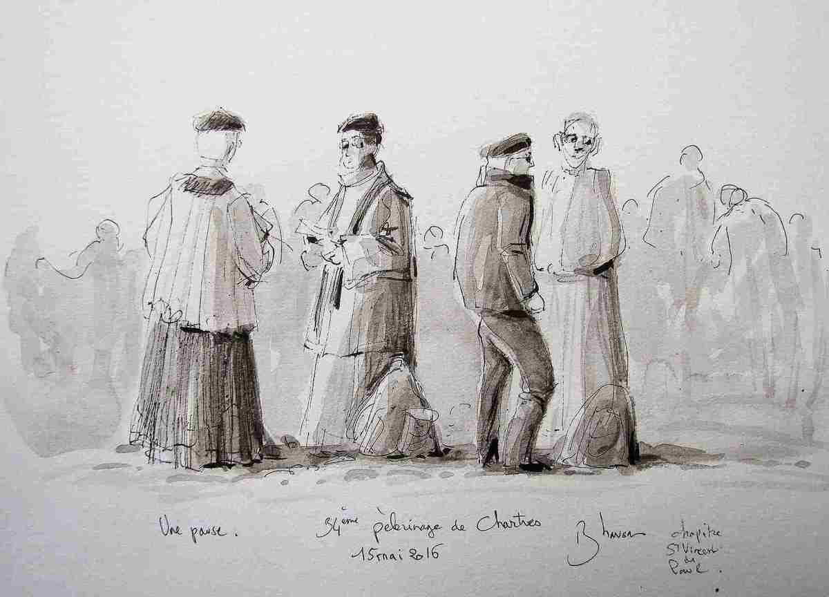 Le 34° pèlerinage de Chartres Lavis d'encre sur papier 21x30 mai 2016 Bhavsar