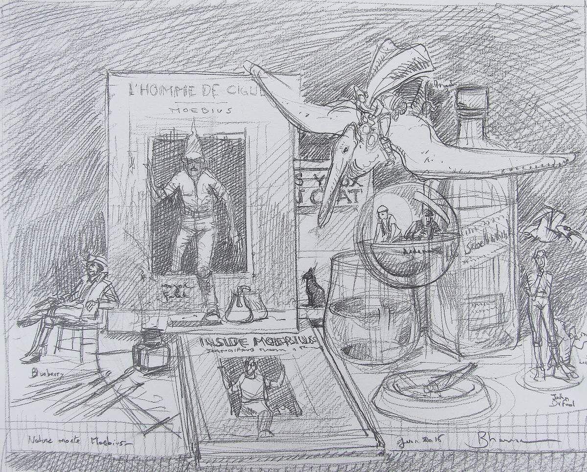 """""""Le monde de Moebius"""" Ebauche de la toile (50x65) et dessin préparatoire, crayon sur papier 22x32 Bhavsar"""