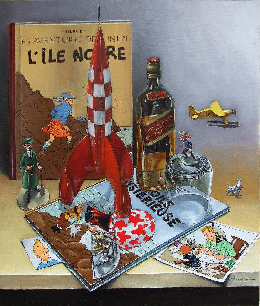 Nature morte pour tintinophile ou le monde de Tintin et d'Hergé Huile sur toile 73X100  2011  Bhavsar Tableau Tintin