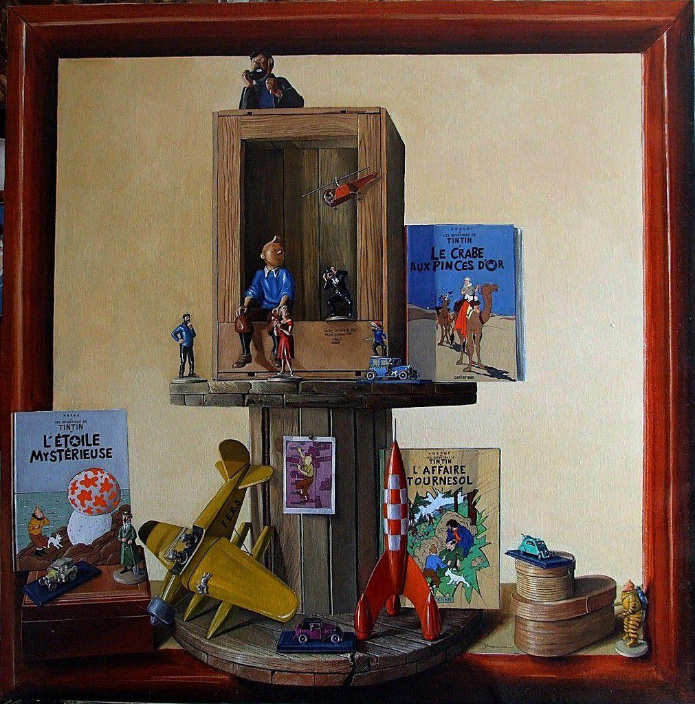 Nature morte pour tintinophile 3 ou le monde de Tintin et Hergé  Huile sur toile 130X130  2012 Bhavsar Tableau Tintin